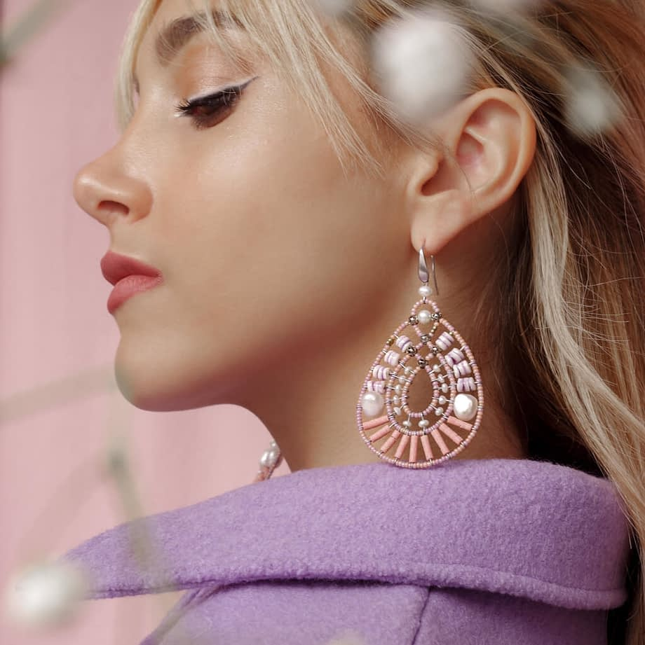 Earrings OIS Flamant Rose by Ziio Jewels