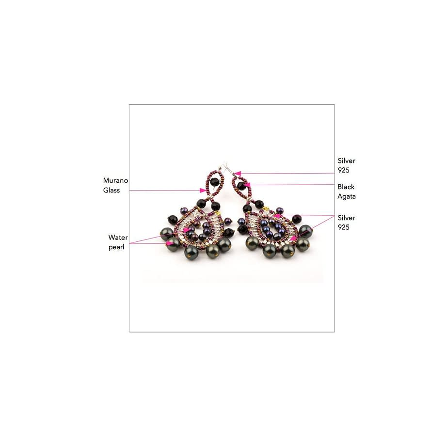 ziio jewels LEGENDE EARRING CROWN BLACK