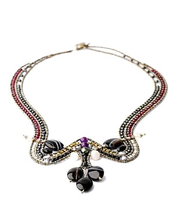 Handmade Necklace Orchid Black