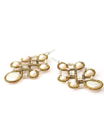 Handmade Earrings ARABESQUE White