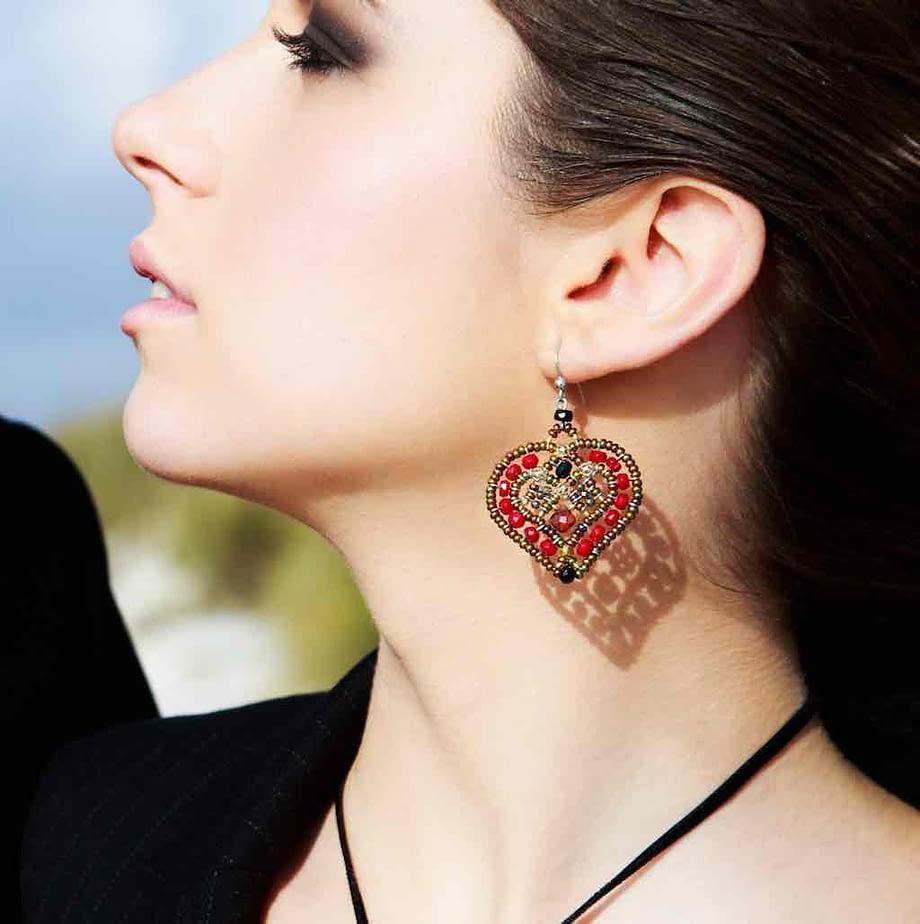 Handmade Earrings COEUR Red