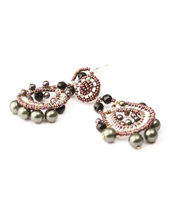 Handmade Earrings CROWN Black