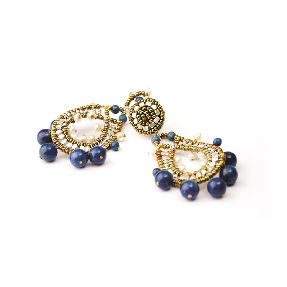 Handmade earrings Crown Lapis