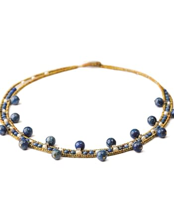 Handmade Necklace Crown Lapis