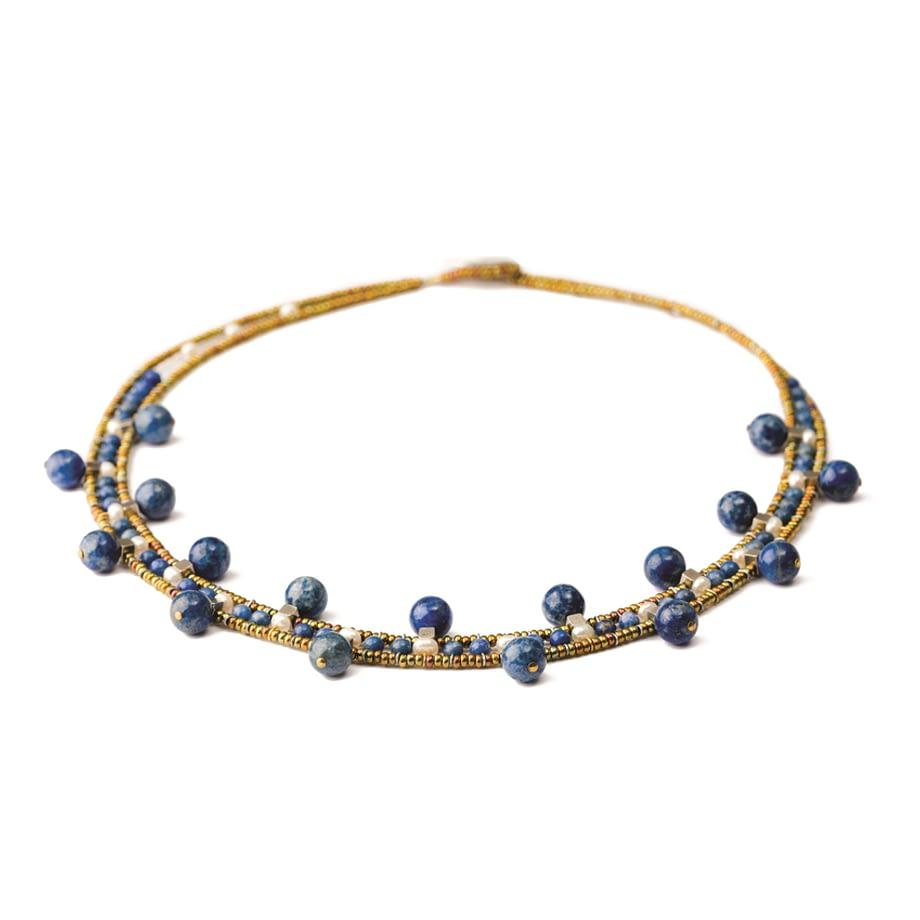 Handmade Necklace Crown Lapis