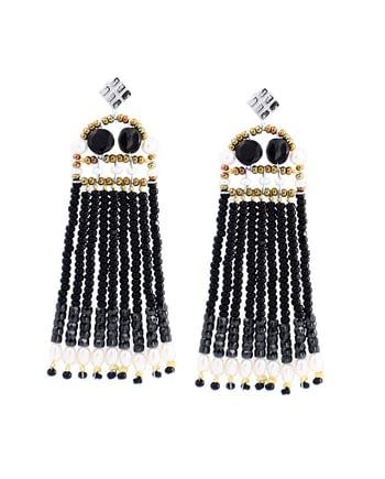 earrings Fenice Frange Black Pearl
