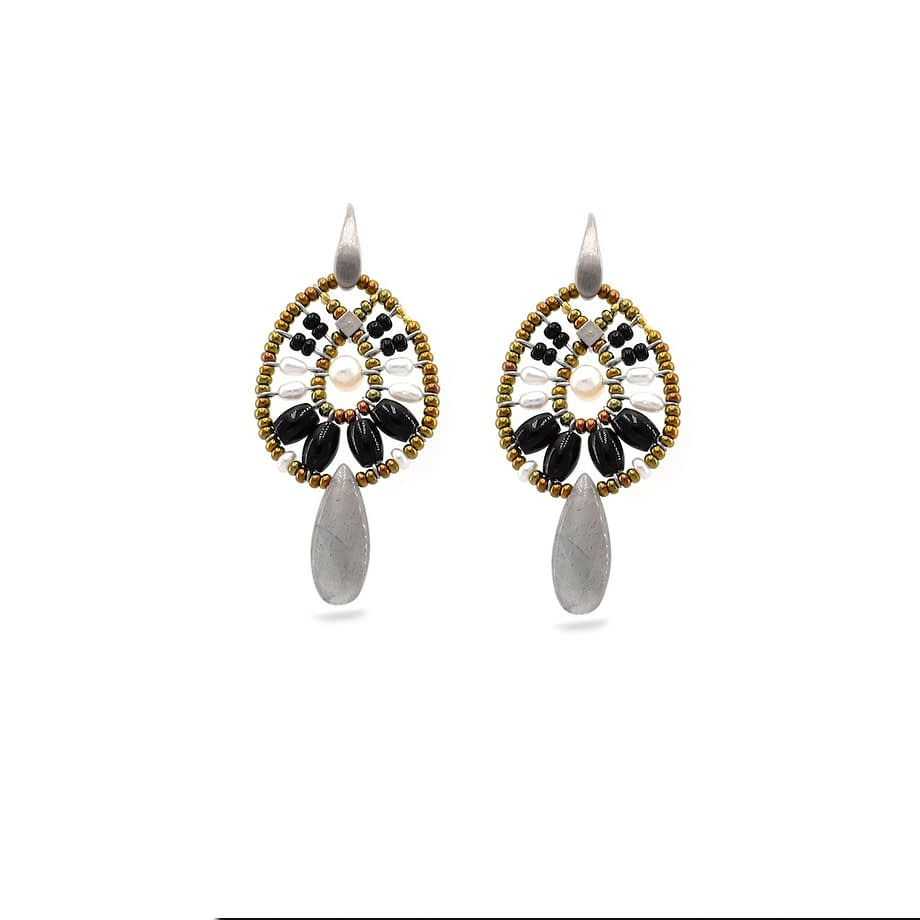 Earrings Fenice Small Black Pearl