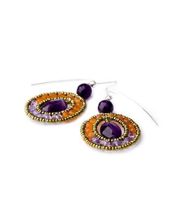 Handmade earrings atlas violet