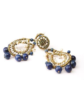 Handmade earrings Crown Lapis