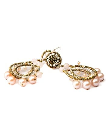 Handmade earrings Crown Pink