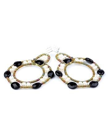 handmade earrings roue black white