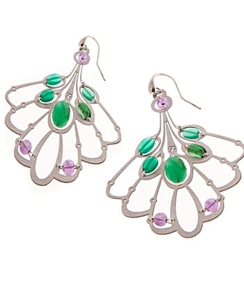 handmade Earrings LYS long Green ziio jewels