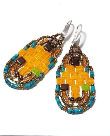 Handmade Earrings PIXEL Orange