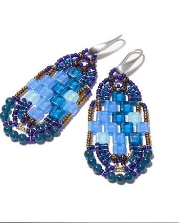 Handmade Earrings PIXEL Blu
