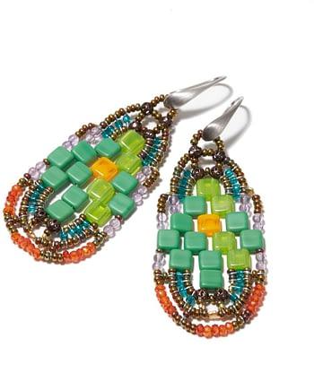 Handmade Earrings PIXEL Parrot