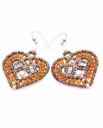 Handmade Earrings COEUR Orange
