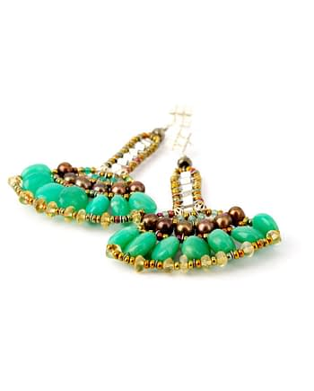 handmade earrings Papyrus green