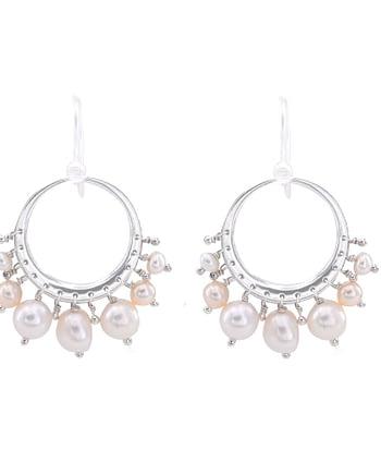 Earrings TRESOR Creole Pearl