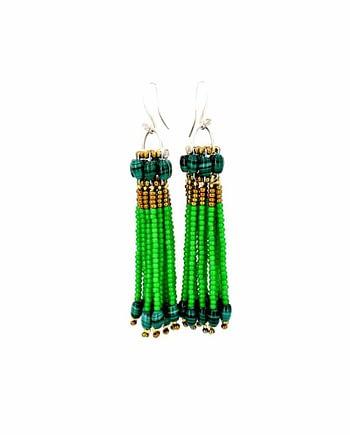 Earrings Pompon Green - Ziio Jewels