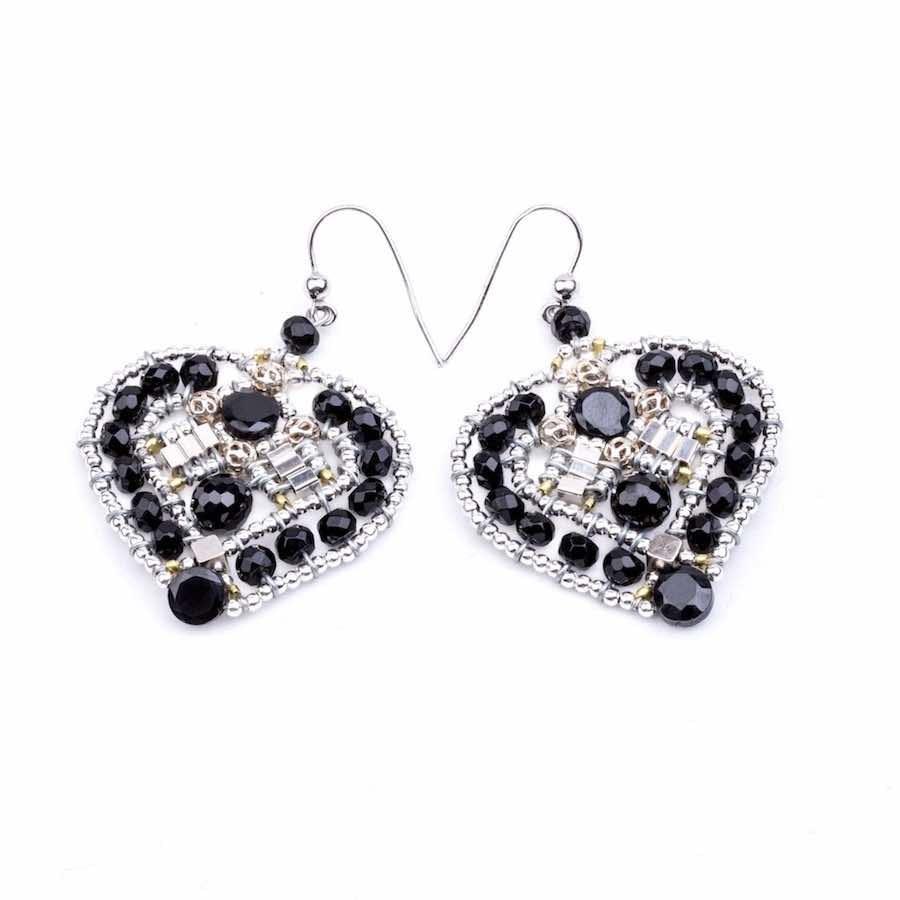 Handmade Earrings COEUR Black