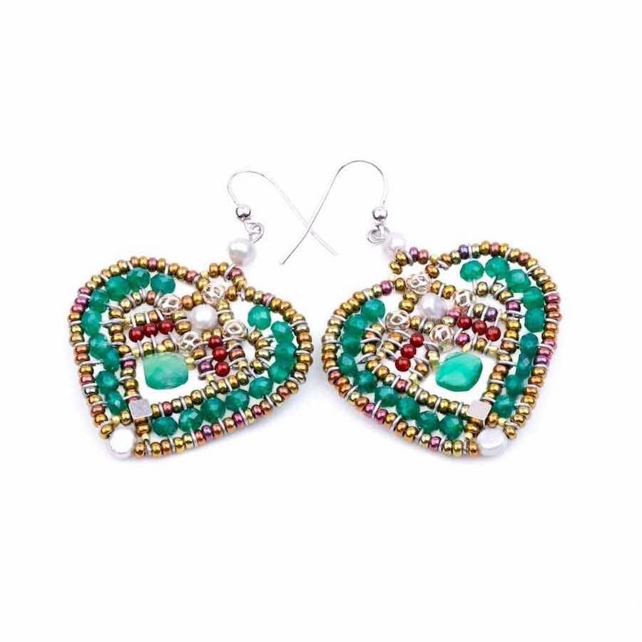 Handmade Earrings COEUR Green