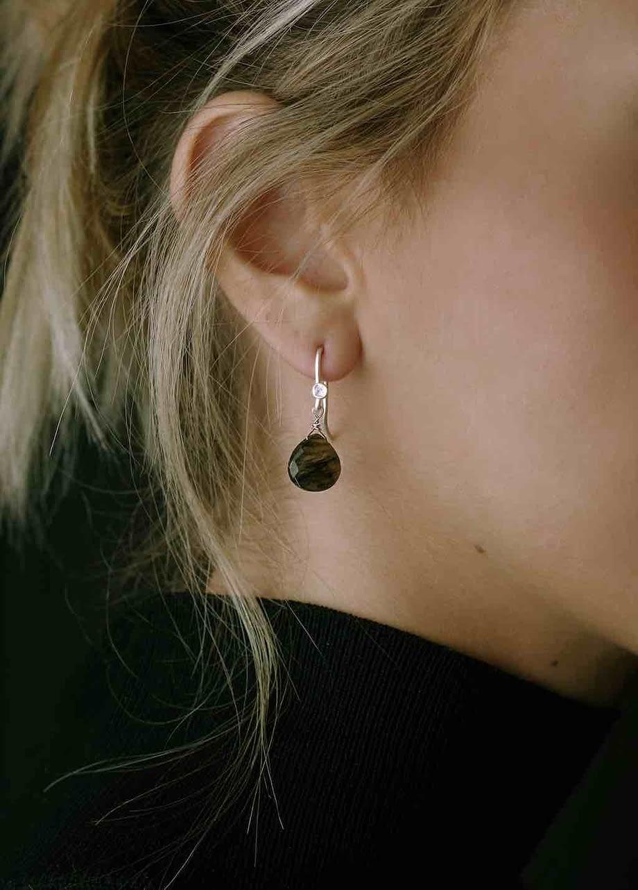 Earrings HEART Small Labradorite