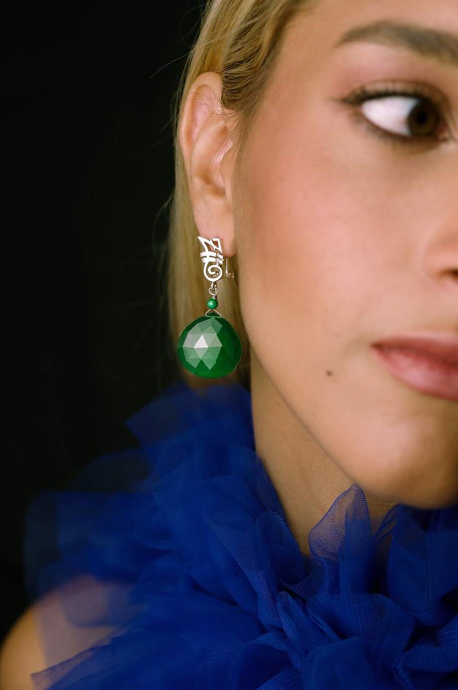 Earrings-HEART-Long-Green